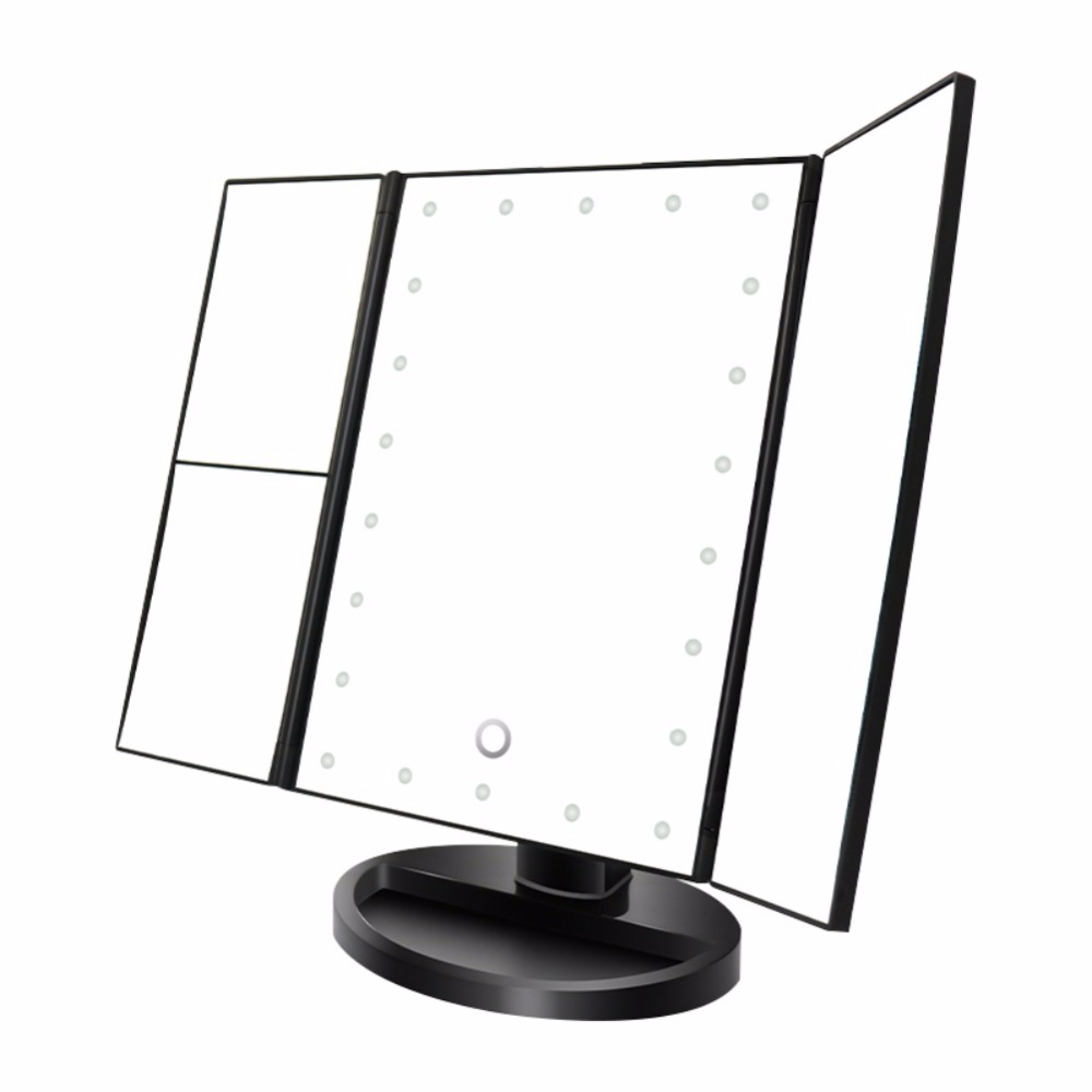 Portable Three Folding Table LED Lamp Luminous Makeup Mirror Cosmetic Mirror Adjustable Tabletop Countertop Mirror Light tx