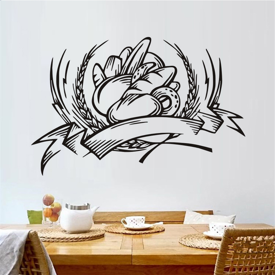 Bread Food Illustration Wall Stickers Black Graphic Wall Decals ...