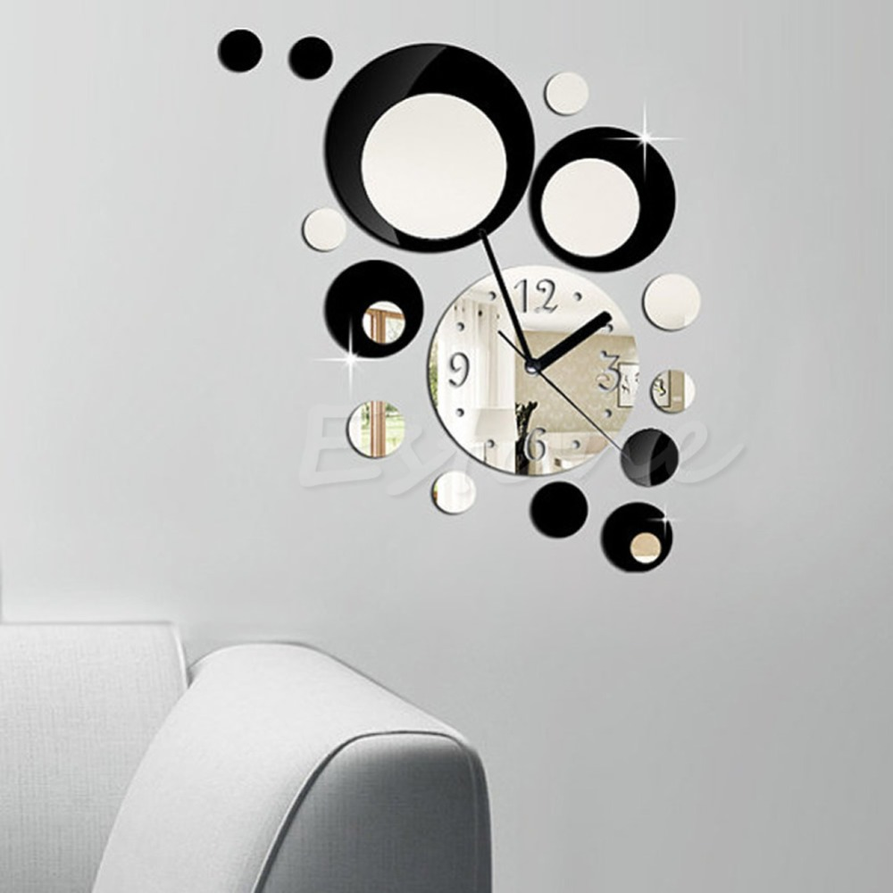 circle wall clock reviews  online shopping circle wall clock  - new set modern circles acrylic mirror style wall clock removable decal artsticker decor