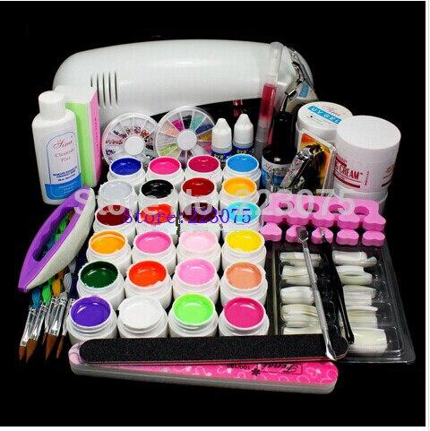 PRO FULL 9W UV White Lamp 24 Color Pure UV GEL 5 Sable Acrylic Brush Nail Art KIT Gel Set att 117free shipping pro 9w white uv lamp 30 colors pure uv gel acrylic brush nail art kits