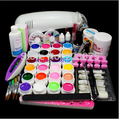 Pro completo 9 W UV White lâmpada 24 cores Gel UV Pure 5 Sable acrílico KIT escova Nail Art Gel Set