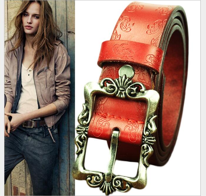 2017 Hot Sale New Fashion Wide Genuine leather belt woman vintage - Apparel Accessories