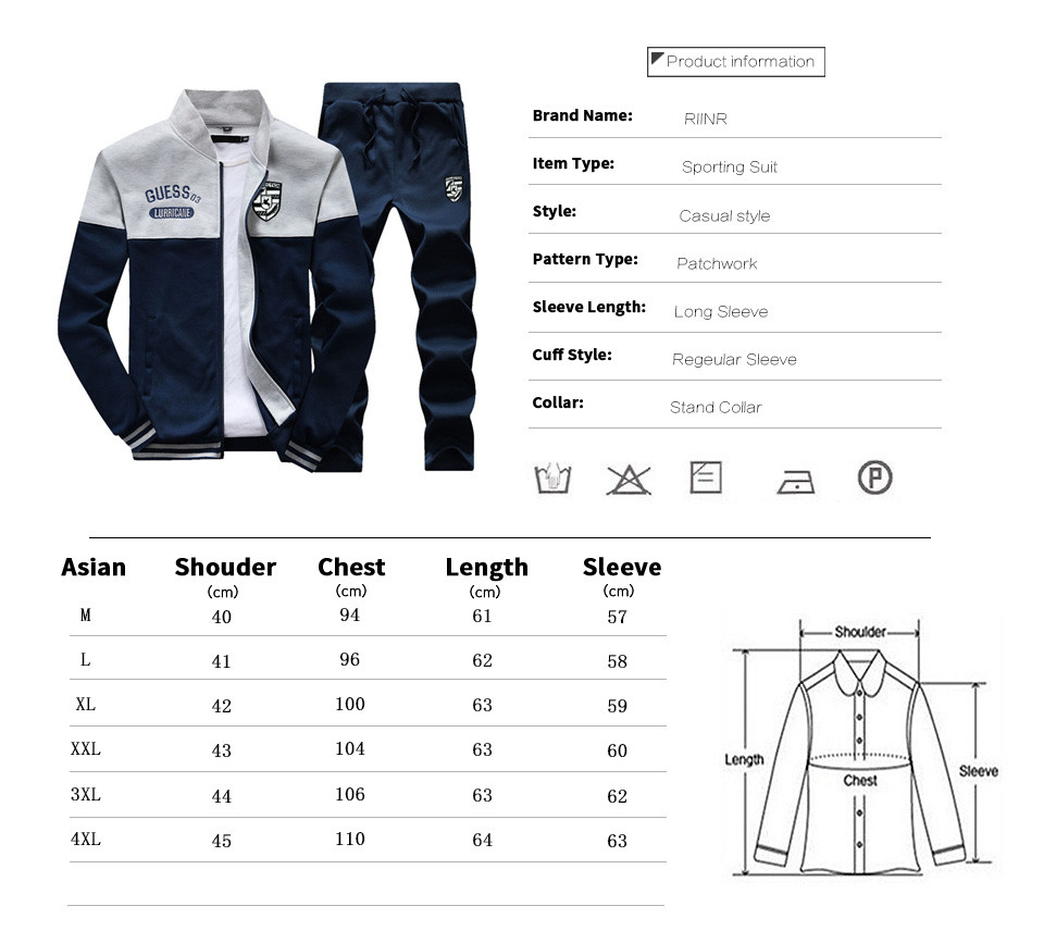 Riinr Brand New Men Sets Fashion Autumn Spring Sporting Suit Sweatshirt +Sweatpants Mens Clothing 2 Pieces Sets Slim Tracksuit 3