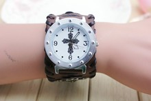 NUEVO Retro Vintage Ancha Correa de Cuero Genuino Reloj de Los Hombres Relojes de pulsera de Moda Brazalete de la Pulsera Vestido Relojes Reloj