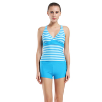 Women Blue V Neck Line Tankini Set Striped Swimwear Box Bottom Double Up Tankinis Beach Wear Female Bathing Suit Sports vest