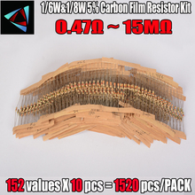 Купить с кэшбэком Free Shipping  1/6W&1/8W 150valuesx10pcs=1500pcs 0R~10M 5% Carbon Film Resistor Assorted Kit