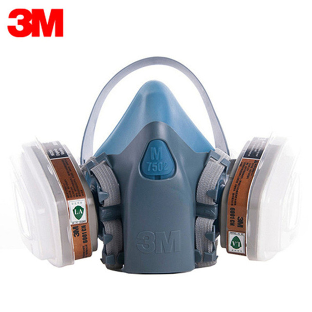 цены 3M 7502 Anti Dust Gas Mask Respirator 9 In 1 Silicone Anti-dust Organic Vapor Benzene PM2.5 Multi-purpose Protection Tool Set