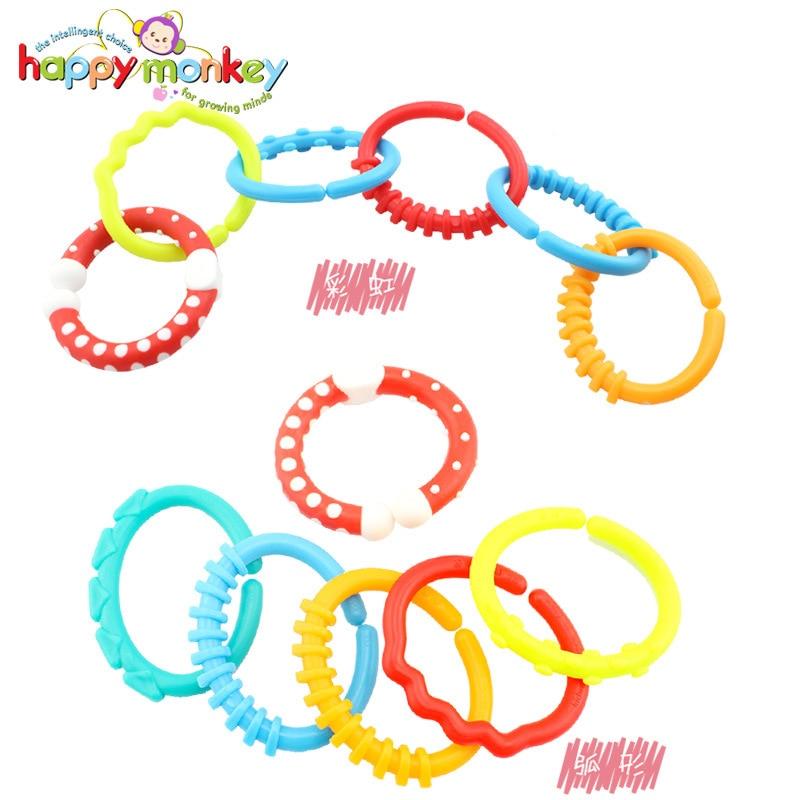 HAPPY MONKEY baby toys gutta rainbow ring clasp ring baby teeth toys WJ538