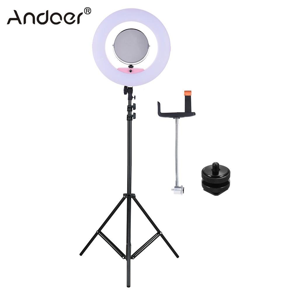 Andoer FD 480II Ring Light 96W Dimmable Bi color 3200 5500K Macro LED Video Ring Light