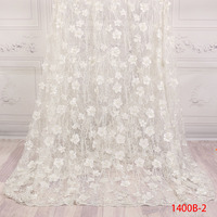 Latest French White 3D Flowers and Handmade Beads Tulle Lace Fabric Nigerian Bridal Tulle lace fabric For Wedding APW1400B 2
