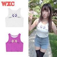 Summer Women Crop Tops Harajuku Cartoon Sailor Moon Cat Luna Big Eyes Printed Tanks Sexy Slim