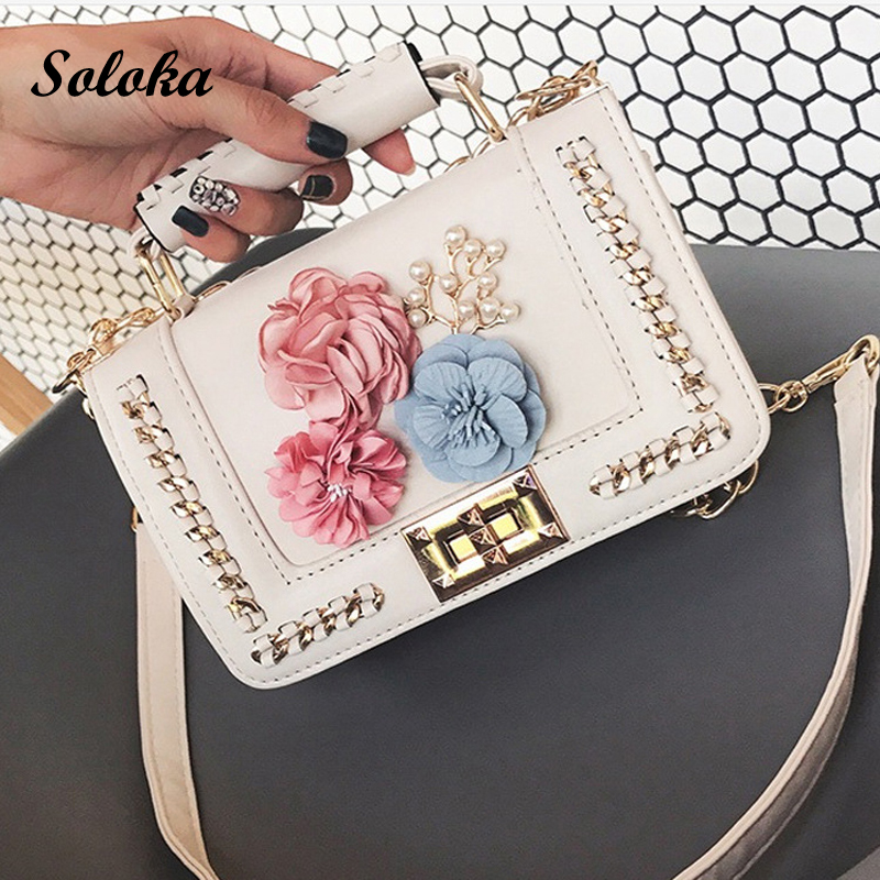 Beautiful Women Handmade Flowers Bags Mini Shoulder Bags with Chain Small Cross Body Bags Fashion Pearl Bags Leaves Decals