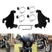Neverland 49mm Motorcycle Fork Bracket Gauntlet Fairing Black Trigger Lock Mount Kit For Harley Dyna D35