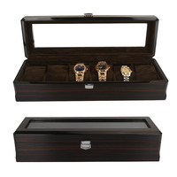 6 Grids Handmade Wood Watch Box Wood Clock Box Watch Case Time Box for Watch Holding|Watch Boxes|Watches -