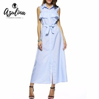 AZULINA Blue Striped Long Shirt Dress With Belt Off The Shoulder Turn Down Collar Women Ruffles