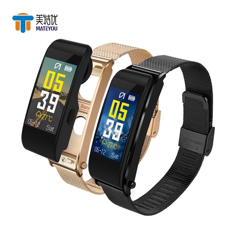 MATEYOU Bracelet Watch Dialogue Health Bluetooth-Headset Smart-Phone Sports Waterproof