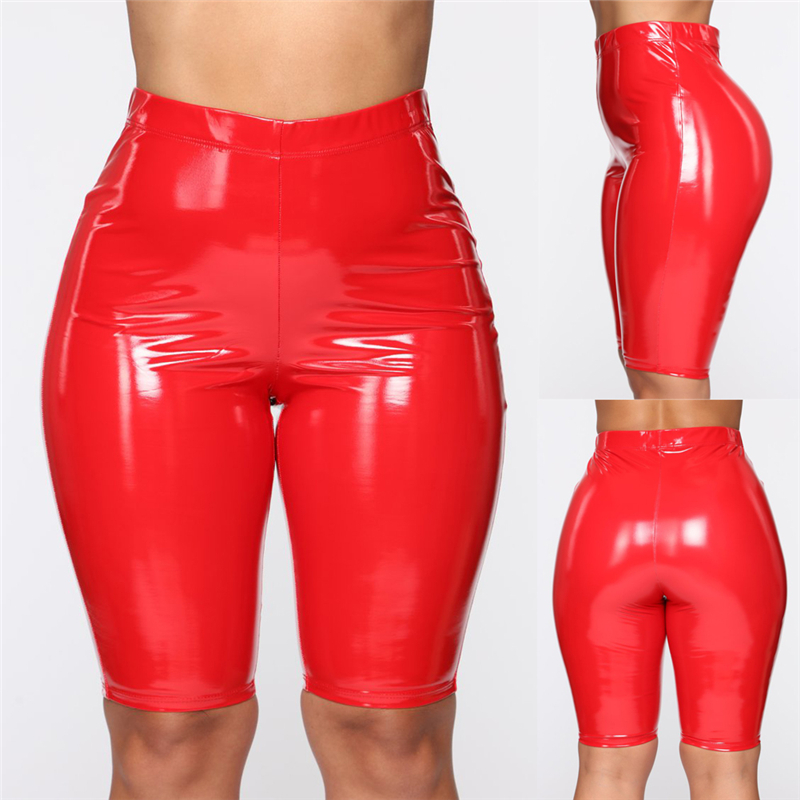 High Elasticity PU Leather Solid Skinny Shorts Women arrival Bodycon Short Pants