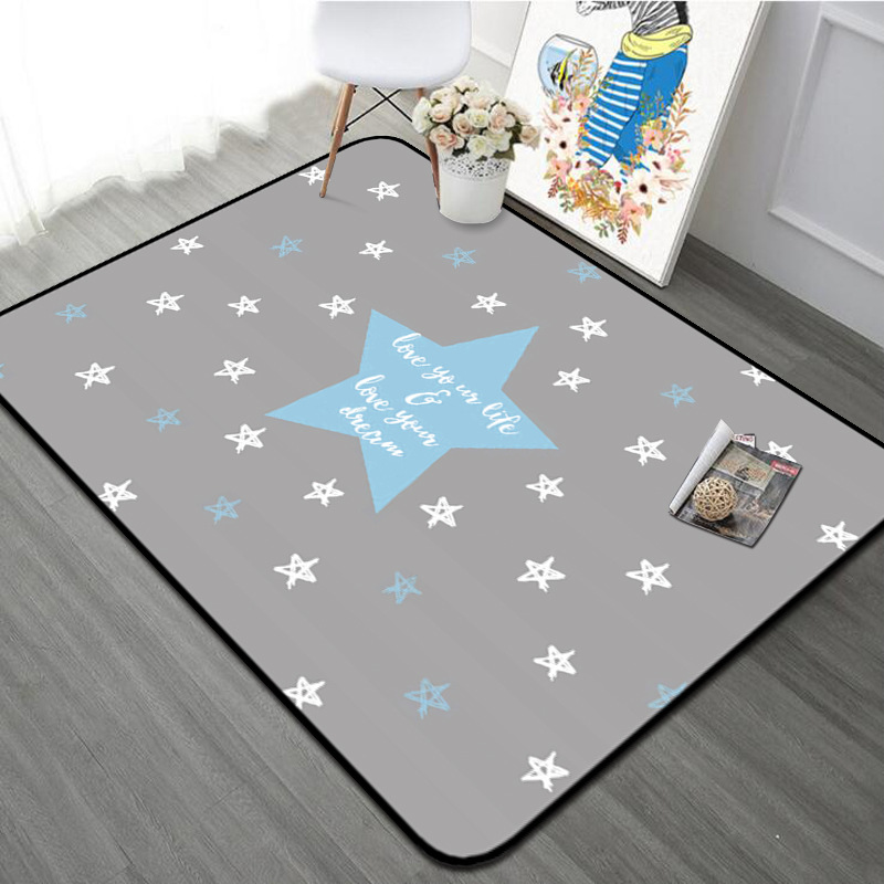 The Nordic carpet stars leisure Home carpet livingroom bedroom rug window stars printed soft baby play mat crawling pad tapetes