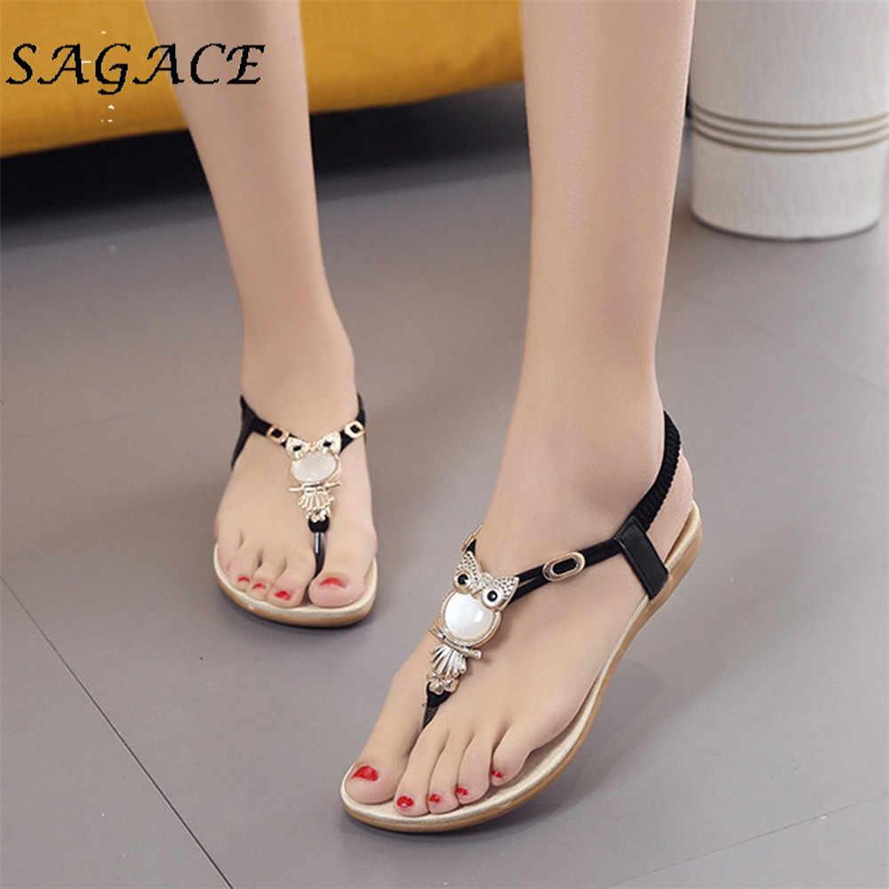 SAGACE Giày Nữ da đế bằng Đá cao su đi biển cho Thun mùa hè 2019 Giày Sandal Nữ giày thường