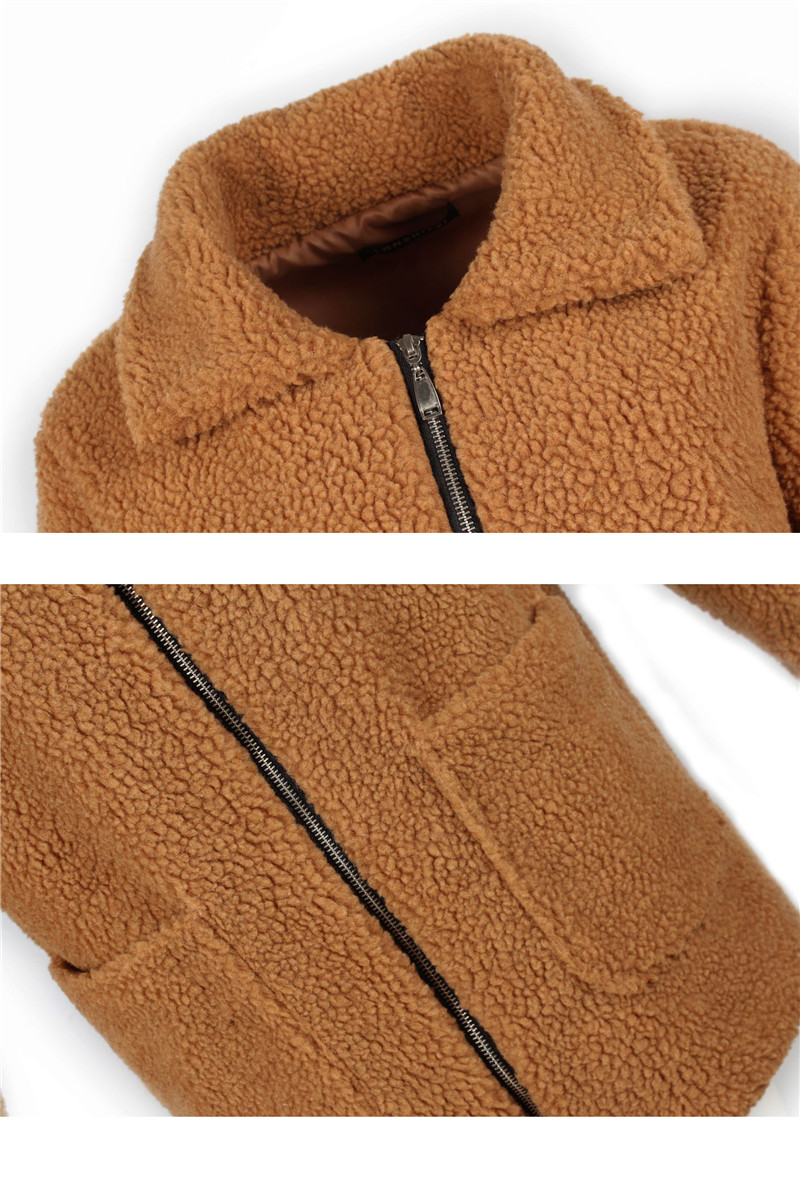 Europe and the United States street photo lapel imitation fur plush coat multi-color long wool coat (18)