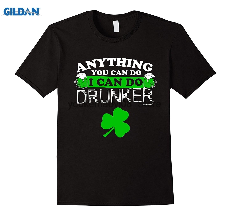 Возьмите пользовательские печатные хлопок O шеи Футболка пиво футболка drunker День Святого Патрика рубашка ...