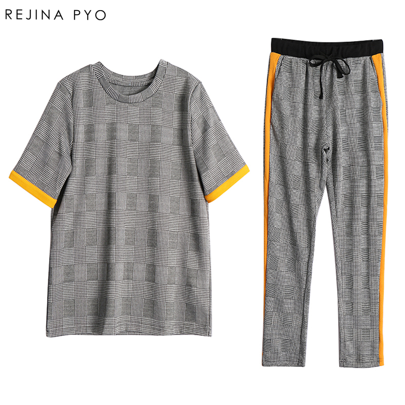 RejinaPyo Women Plaid Two-pieces Suit Female Knitted Contrast Color Tops Casual Elastic Waist Pants High Street New Arrival