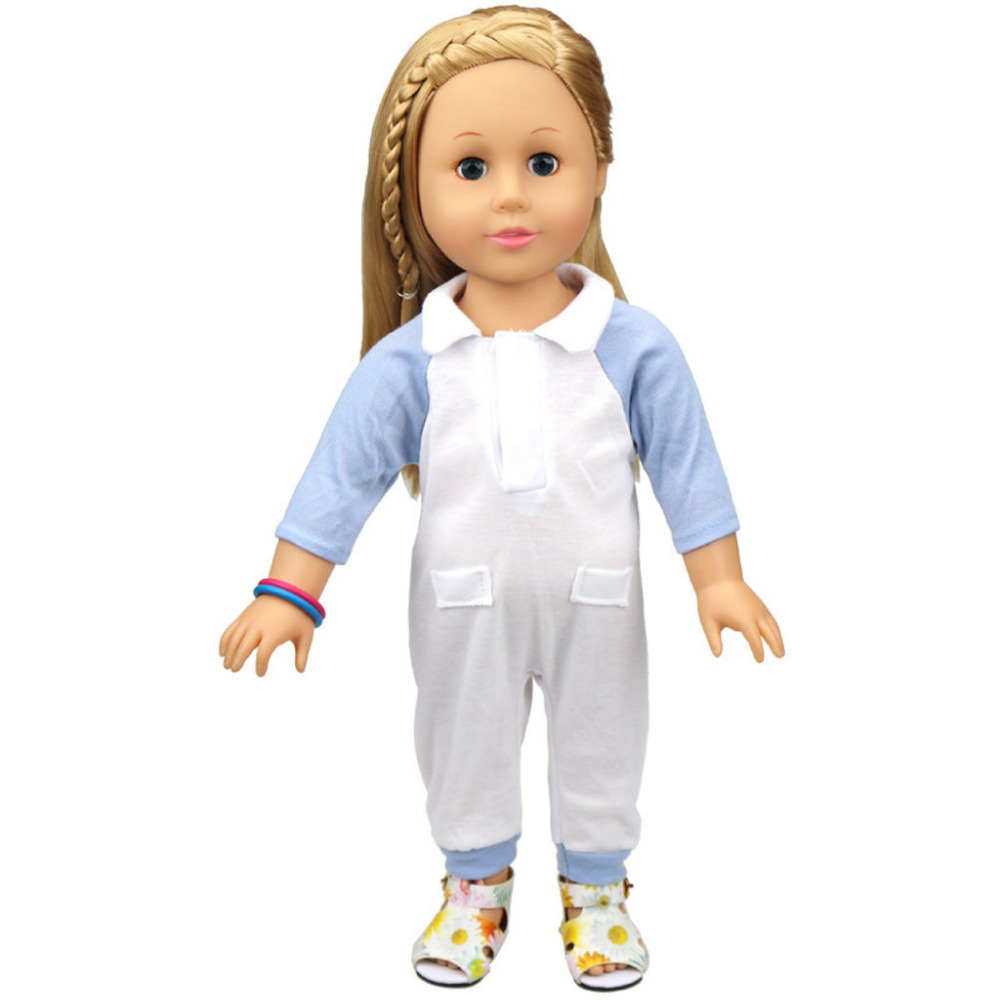 wamami New Handmade Fashion Blue Knitted Coverall For 18inch American Girl Doll