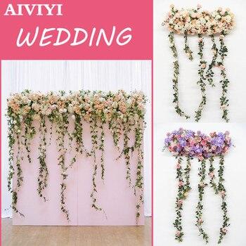 New wedding decoration flower hanging flower arches T platform road background wall studio window wedding props supplies