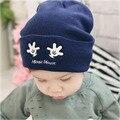 Recém Design de Impressão Mickey Tricô de Lã Chapéus Para O Bebê Kid Crianças Outono Inverno Quente Caps Gorros