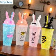 New Cute Bunny Ear Drinking Cup Creative Cool Fashion Double Plastic Cartoon