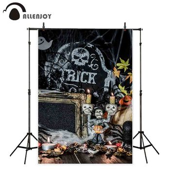 Allenjoy portrait door backdrop Halloween figure devil churchyard ghost skull smiling decoration photo background photography image