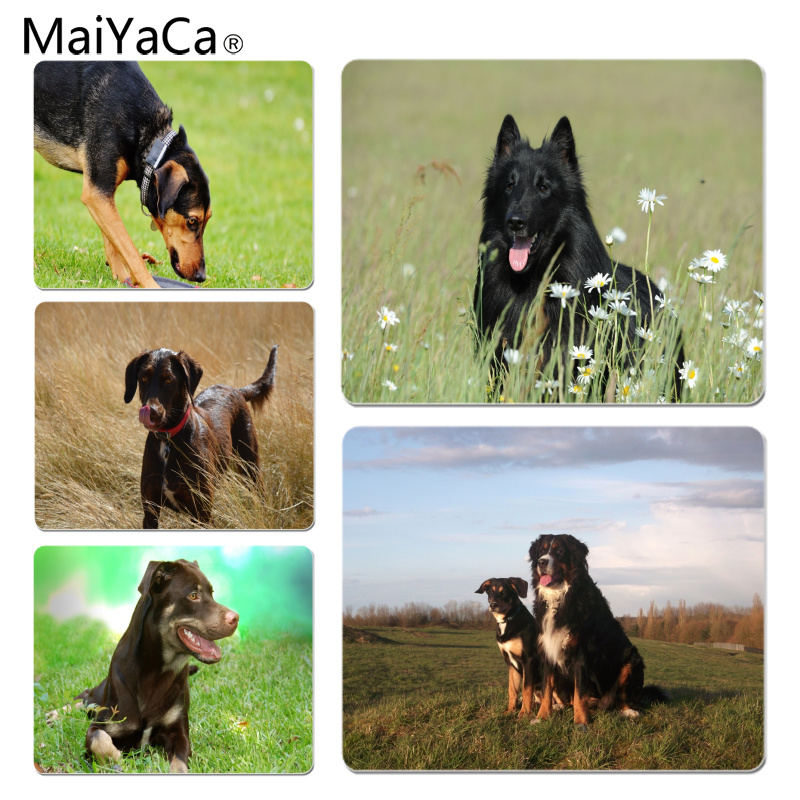 MaiYaCa New Design Black dog on the grass Durable Rubber Mouse Mat Pad Size for 18x22cm 25x29cm Rubber Mousemats