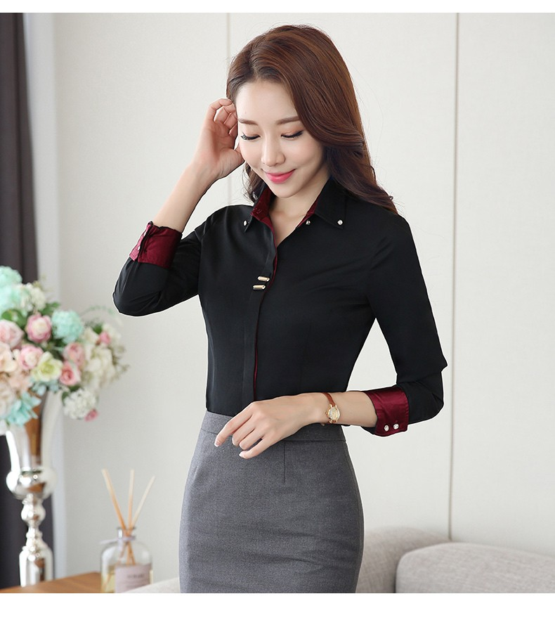 HTB1yfksLXXXXXcOXpXXq6xXFXXXF - Long sleeve shirt black white slim cotton blouse office ladies