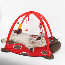 Pet Cat Bed Cat Play Tent Toys Mobile Activity Playing Bed Toys Cat Bed Pad Blanket House Pet Furniture Cat House With Ball kitty bed toys cats mobile activity playing tent leopard zebra mat