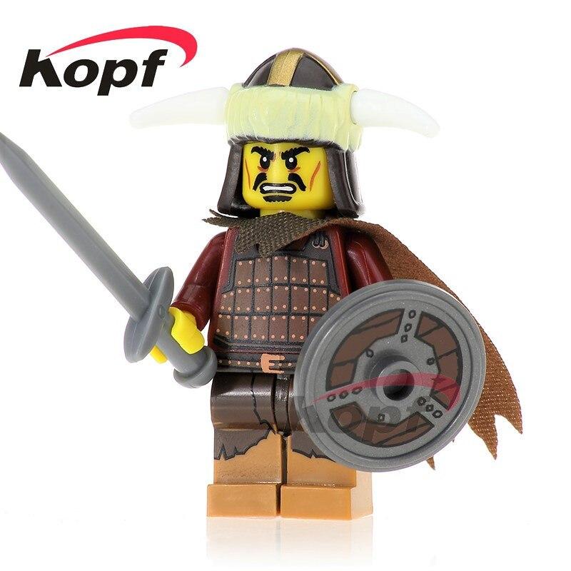 Single Sale Hun Warrior Ares Saint Tutankhamun Evil Knight Super Heroes Model Assemble Building Blocks Children Gift Toys XH 638