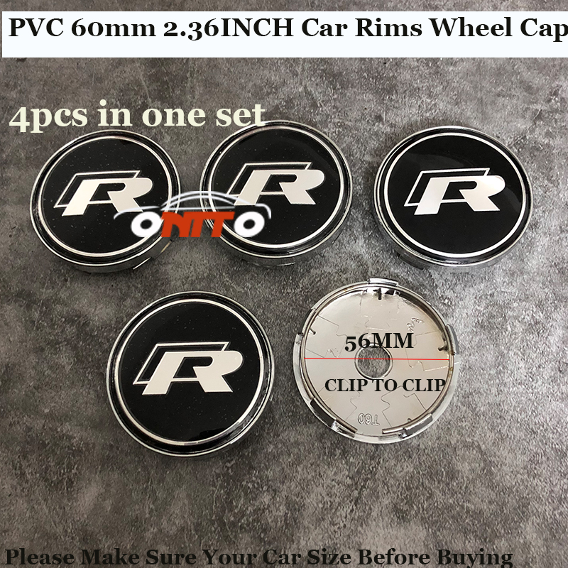 4pcs Chrome 60mm Car Wheel hub Caps Car accessories label R logo badge For VW Passat B6 B7 CC Golf Jetta MK5 MK6 Tiguan Covers