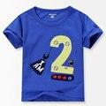 Номер Серии № 2 печати Мальчиков футболку 2016 Летом 100% Хлопок Малыш Мальчик Рубашки Детская одежда 18 М-6 Т детская одежда
