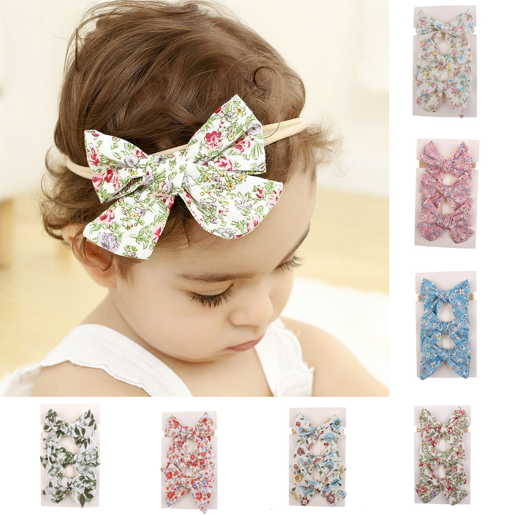 3pcs Set Newborn Baby Girls Floral Headband Ribbon Elastic Strap Hair Band Sets