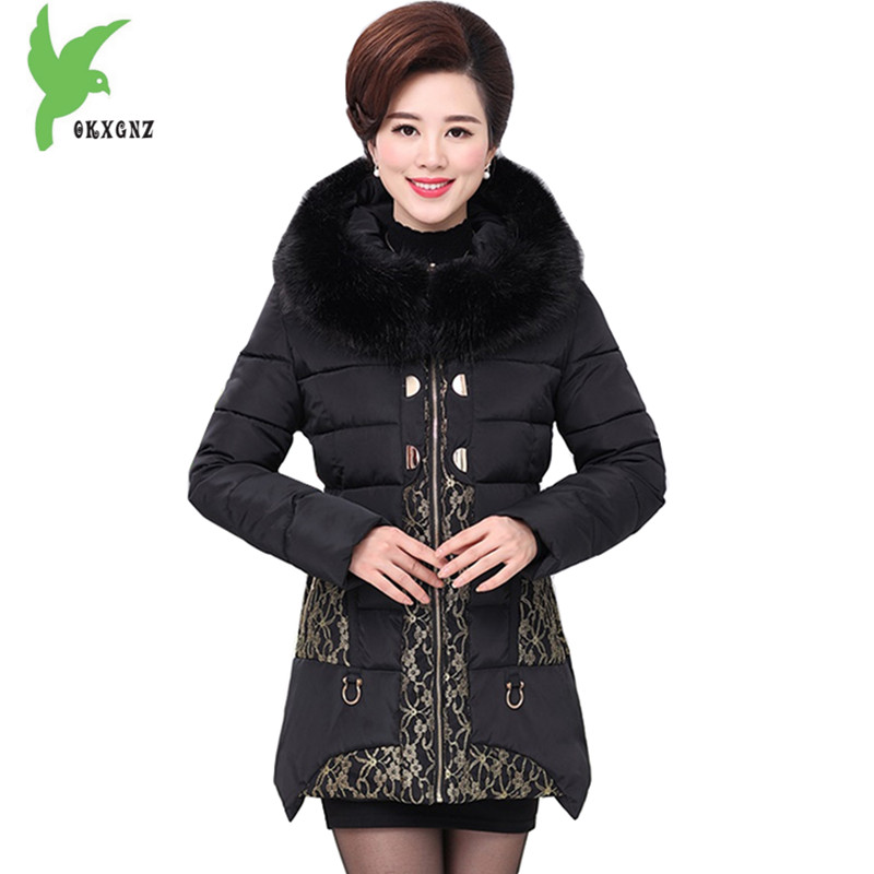 Middle aged Women Winter Cotton Jackets Thick Warm Parkas Plus size Mother Cotton Coats Hooded Fur collar Outerwear OKXGNZ A1238 winter women medium long middle aged fur collar hooded parkas thick warm plus size coat cotton padded chaquetas mujer tt3058