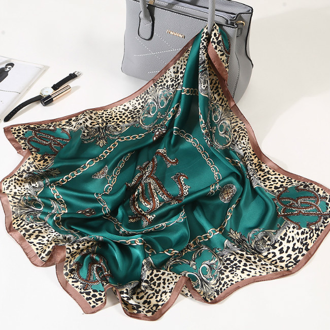 Hot Women Striped Square Scarf Imitated Silk Scarves Leopard