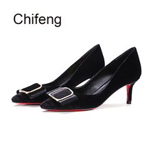 Women's red bottom high heels genuine leather womens shoes stiletto heels 2017 autumn new pointed toe woman Pumps gift for mum