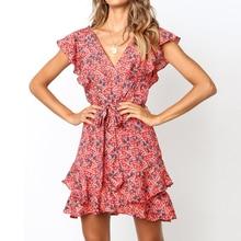 Casual Butterfly Sleeve Bandage Beach Sundress Plus Size Vestidos Summer Chiffon Dress Women Floral V Neck Party Dress XXL plus size bandana floral butterfly sleeve dress