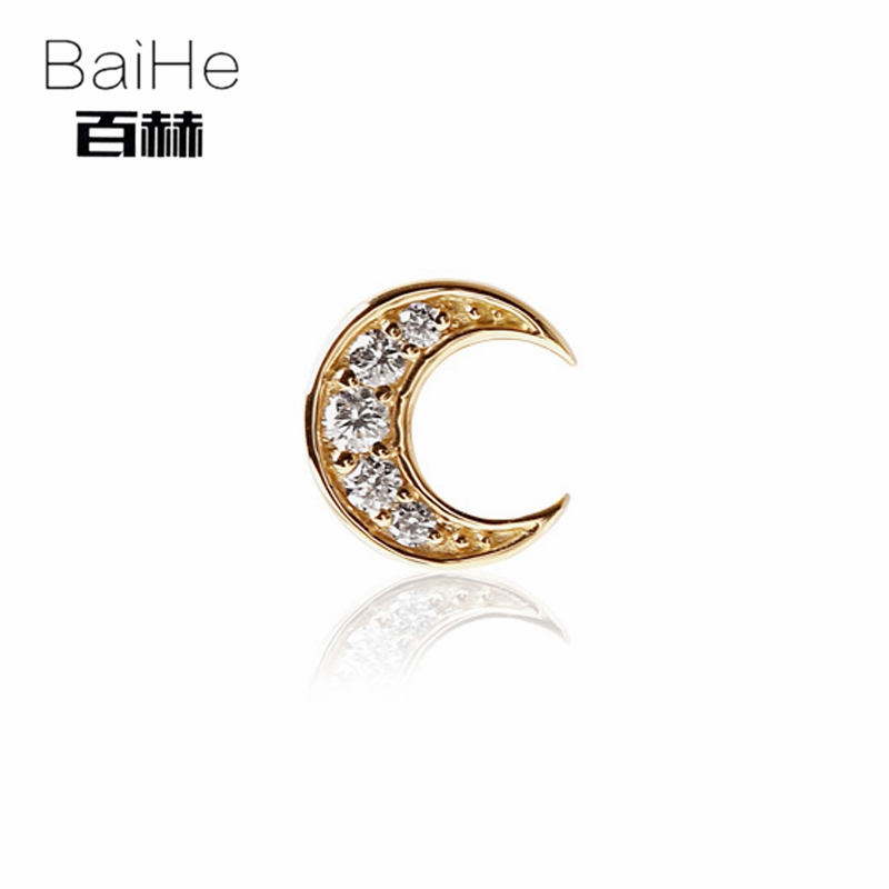 BAIHE Solid 14K Yellow Gold 0.04CT H/SI 100% Genuine Natural Diamond Engagement Trendy Fine Jewelry Elegant Unique Stud Earrings