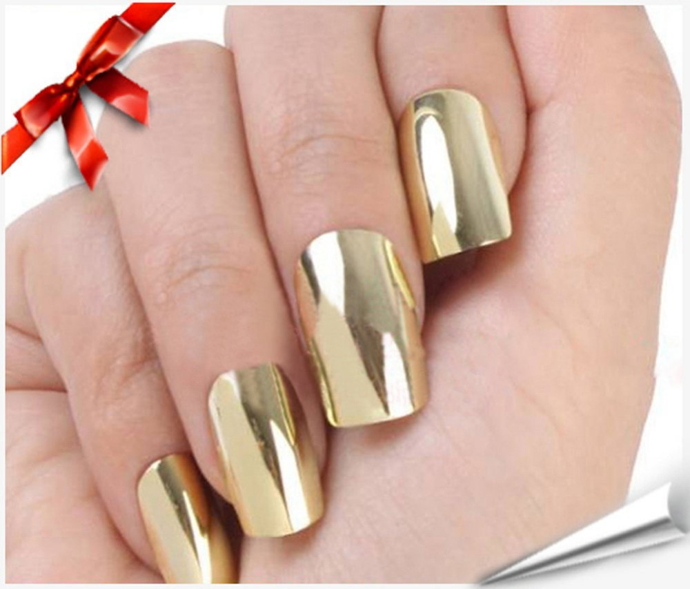 2014 New Fashion Beauty Nail Art Polish Gold Metallic Foil Sticker ...
