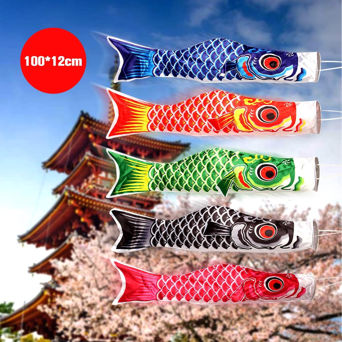 5 Colors 100cm Waterproof Japanese Carp Windsock Streamer Hanging Fish Flag Decor Kite Koi Nobori For Children
