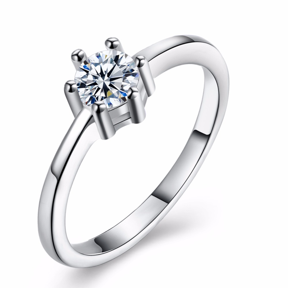 Engagement Rings Women Jewelry Claws Accessorise Gift Silver-Color Classic-Design Fashion
