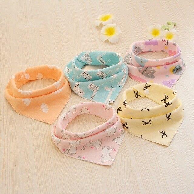 5PCS/LOT Baby Bibs For Boy&Girl bandana bib Burp Cloth Print animal Triangle Cotton Baby Scarf Meal Collar Burp baby Accessories