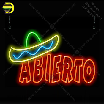 Abierto with Graphic Neon Bulbs Sign Real Glass Tube Handcraft light Sign Recreation Hotel Iconic Neon Lights anuncio luminoso