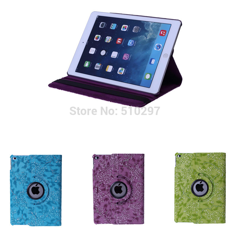 Fashion For Ipad air 2 Luxury Grape pattern 360 Degree Rotating PU Leather Protector Cover Case For Apple Ipad Air2 Ipad6
