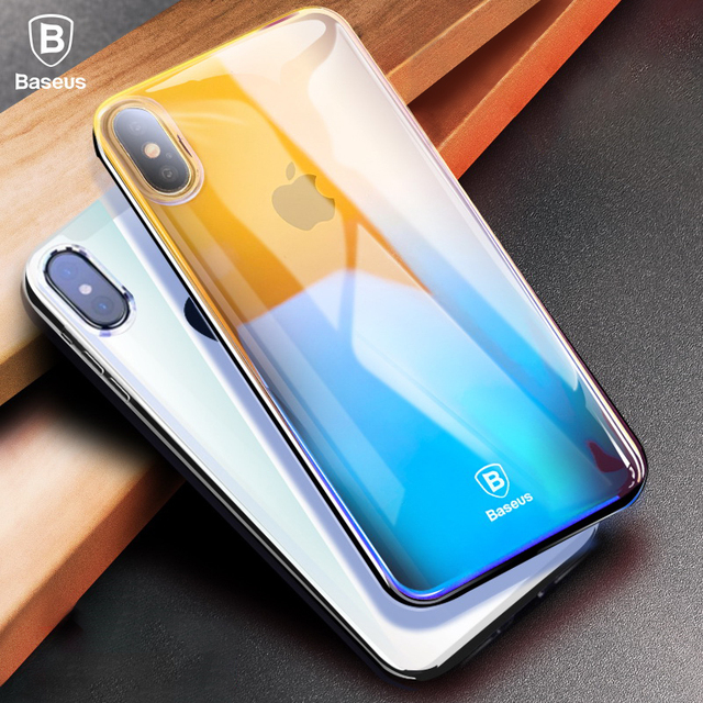 Case For iPhone X 8 7 6 6S 5 5S SE Baseus Ultra Thin Gradient Hard PC Cover For Samsung Galaxy S9 S8 Plus Note 8 Huawei Mate 10